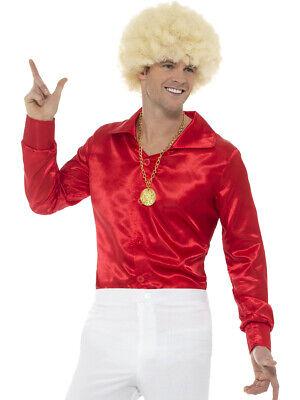60s Costume Men (Men's 60s 70s Groovy Dude Red Disco Shirt Costume Large)