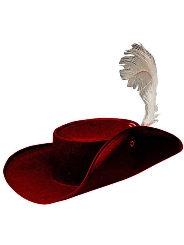 Permafelt Red Musketeer Hat Costume Accessory