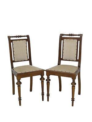 Stuhl Stühle Lehnstühle Antik um 1880 Nussbaum mit Sitzpolster 2er Set (5573)