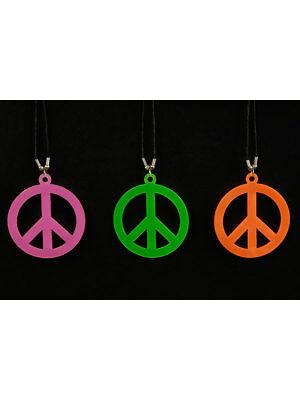 Halskette mit Peacezeichen Neon Karneval Party Accessoires Karneval Zeichen