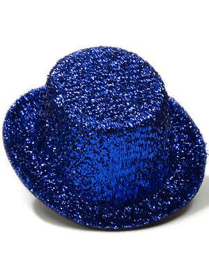 Glitter Top Hats (Women's Burlesque Mini Micro Blue Glitter Top)