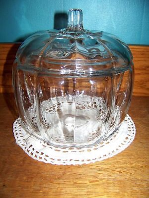 Pumpkin shaped container w/lid clear glass candy treat holder fall Halloween 7