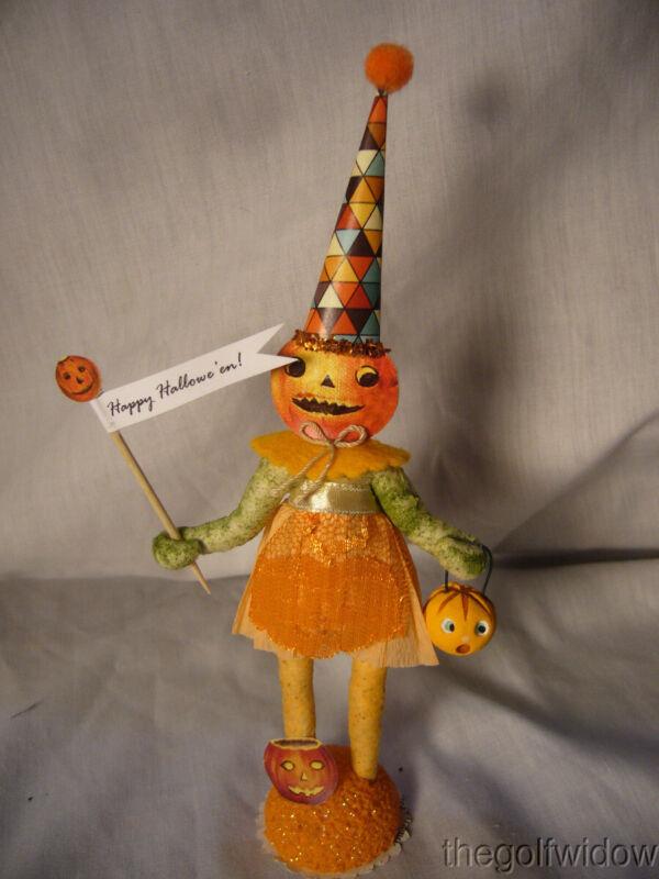Vintage Inspired Spun Cotton Pumpkin Girl Halloween No. HW16