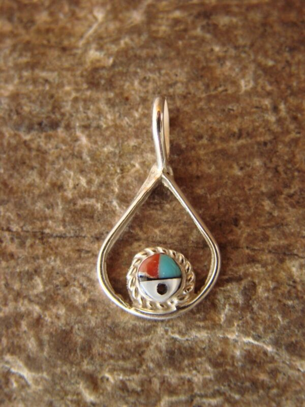 Zuni Indian Jewelry Sterling Silver Turquoise and Coral Inlay Sunface Pendant...