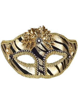 Zebra Mask (Deluxe Black Gold Zebra Rhinestone Gem Venetian Eye)