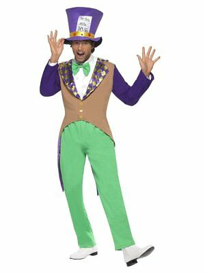 Smiffys Mad Hatter Adult Men's Halloween Costume Trousers Jacket Hat Bow-Tie LG