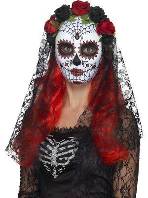 Tag der Toten Senorita Maske + Schleier Halloween Kostüm Zubehör Neu