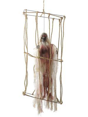 SMI - Halloween Deko Skelett im Käfig beweglich Leuchtaugen