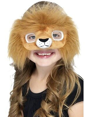 Kids Lion Mask Faux Fur Furry Cat Costume Face Childs Boys Girl One Size - Lion Mask