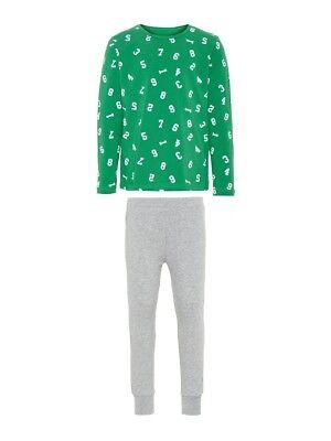 cdcc37e515 NAME IT Jungen Pyjama Schlafanzug grau grün Zahlen Größe 86 bis 164*