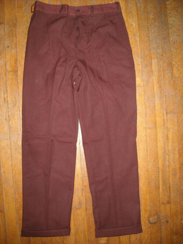 VTG 50s 60S NEW MENS  32 X 32 34  BROWN BUTTON FLY WORK DRESS SLACKS  PANTS