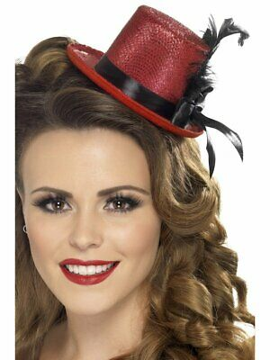 Red Mini Top Hat Black Feathers Flapper Mad Hatter Costume Halloween Womens NEW (Mini Red Top Hat)
