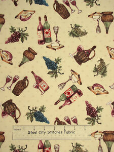 Windham Fabrics Wine & Cheese Grape Vine Bottle Food Drink Cotton Fabric YARD