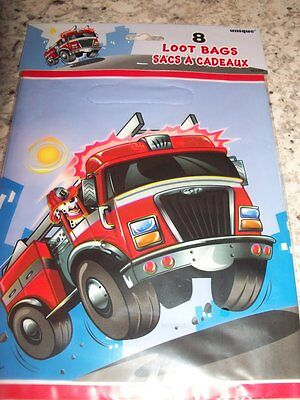 8 pc Fire Engine Fireman Party Treat Birthday Bags - Fire Engine Party