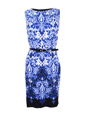 Connected Women's Belted Printed Sheath Royal  Dress Size 14  Printed Belted Sheath Dress