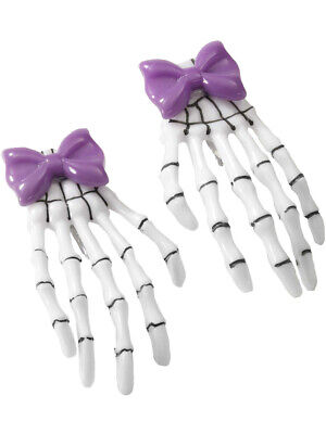 Pirate or Gothic Accessory Purple Bow Skeleton Hand Hair Clip Barrettes (Pirate Hair Accessories)