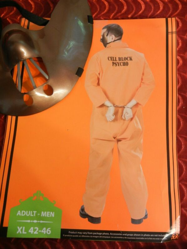 HANNIBLE LECTOR PSYCHO INMATE HALLOWEEN COSTUME - ADULT - XL - CELL BLOCK PSYCHO