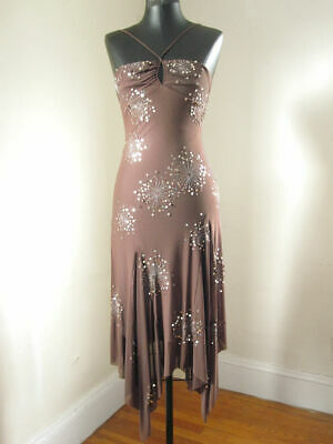 NWT BCBG Max Azria XS 0 Purple Sequin Flowy Drape Hem Keyhole Halter Dress Dance