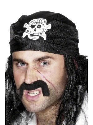 Pirate Bandana Costume Headscarf Black Skull & Cross Bones Head Scarf Bandanna  (Pirate Scarf)
