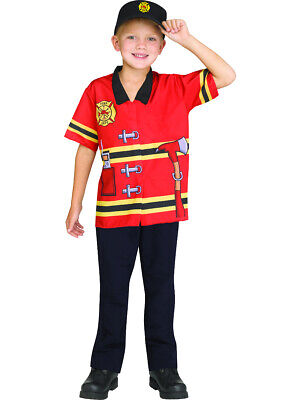 Child's Firefighter Printed Shirt And Hat Combo Costume Up To Size - Kids Firefighter Hat