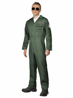 Mens Pilot Jumpsuit Aviator Air Force Captain Green Jump Suit Adult M L XL NEW (Green Jumpsuit Costume)