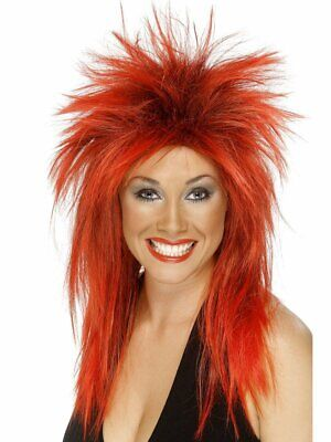 Red Mullet Wig (Womens Punk Rocker Wig Spiky Red & Black Hair 80s Diva Mullet Look Adult)