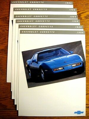 1986 Chevy Corvette Sgl Sheet Brochure LOT (6) pcs