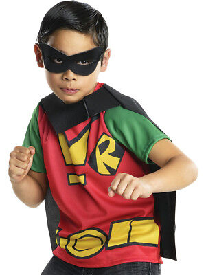 Child's Boys Teen Titans Go Cartoon Robin Shirt Cape Mask Costume Top (Go Costumes)