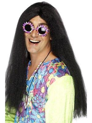 Schwarz 1960er Groovy Hippie Perücke Erwachsene Herren Smiffys Kostüm Zubehör