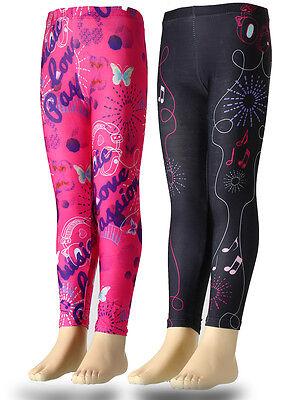 Schwarze Mädchen Sporthose (Kinder Mädchen Sporthose Leggings Hose Violetta pink schwarz 116 128 140 152 )