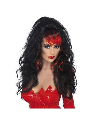 Perücke Lang Gewellt mit Pony Verführerin Schwarz-Rot Kostüm Teufel - Kostüm Mit Roten Perücken