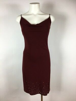 (BETSEY JOHNSON EVENING Stretchy red spaghetti strap crystal embellished dress S)