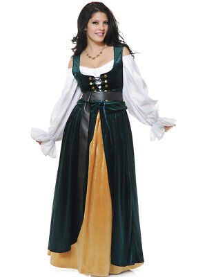 Adult's Womens Green And Gold Country Western Lady Wench Dress Costume - Country Western Costumes