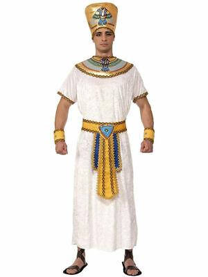 Ägyptische König 6Pc Weiß/Gold Velour Abendkleid Kragen Gürtel Kopfbedeckung - Ägyptischen Kostüm Kragen