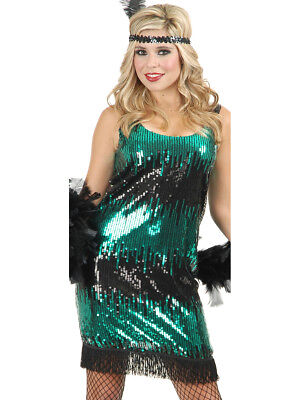 Women's Sexy Green Stretch Sequin Flapper Costume Dress