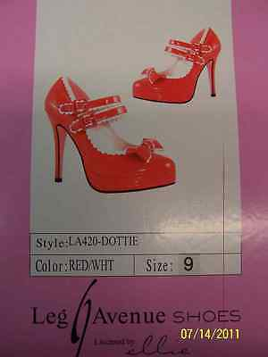 DOTTIE Shoes Scalloped Mary Jane Red White Halloween Adult Costume Accessory
