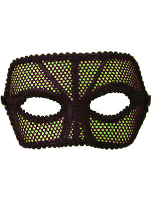 Black And Green Masquerade Mask (Deluxe Retro 80s Neon Black and Green Fishnet Costume Venetian Eye)