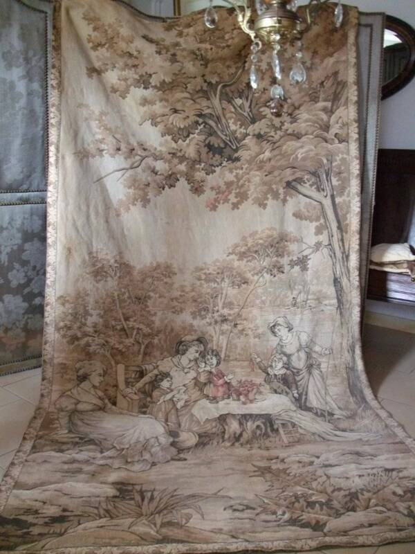 """Huge Antique French Chateau Tapestry 9ft. x 4ft.9"""""""