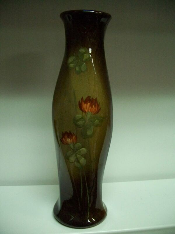 Owens Art Pottery Yellow Flowers Brown Green Twisted Tube Body Vase Signed NR