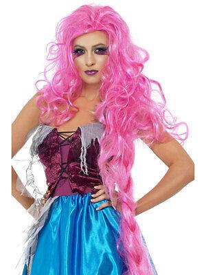 Womens Long Pink Rapunzel Wig Princess Costume Fairy Tale Hair Braided Adult NEW - Rapunzel Adult Wig