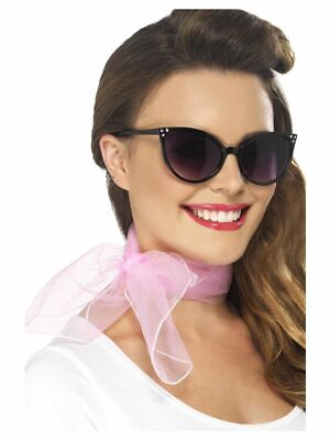 NEW Grease Pink Ladies Neck Scarf 50's Smiffy's Fancy Dress Adults - Grease Pink Ladies Accessories