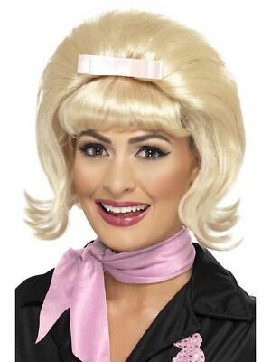 1950s Halloween Wigs (Smiffys 1950s Flicked Beehive Bob Blonde Wig Halloween Costume Accessory)