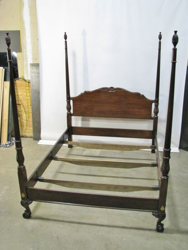 "Drexel Heritage ""Heirlooms"" Solid Mahogany Carved Four Poster Queen Bed"