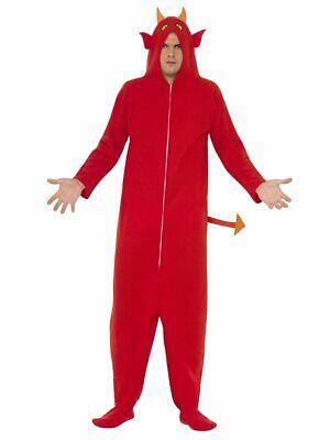 Mens Hooded Devil Costume Red Jumpsuit Hoodie Mascot Adult Satan Jump Suit NEW - Devil Costume Man