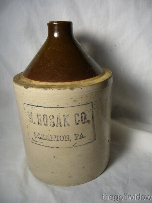 Vintage Scranton PA Whiskey Liquor Half Gallon Jug Crock M. Bosak Co.