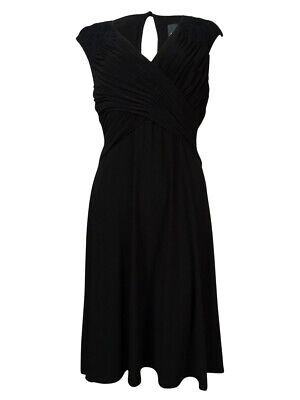 Adrianna Papell Women's Textured V-neck Ruched Jersey Dress 8, Black Black Ruched Jersey V-neck
