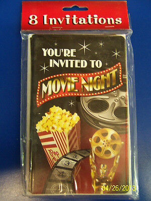 Hollywood Themed Birthday Invitations (Movie Night Hollywood Oscar Prom Theme Birthday Party Invitations)