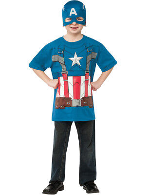 Child's Marvel Retro Captain America T-Shirt With Mask Costume](Kids Captain America)