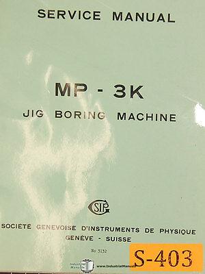 Sip Mp-3k Jig Boring Machine Service And Parts Manual