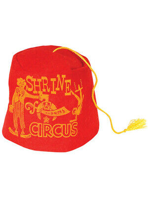 Classic Red Soft Felt Circus Shriners Aladdin Fez Hat With Yellow (Classic Red Felt Hat)
